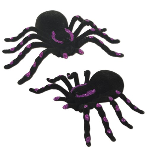 Beistle 2-Pack Glittered Spiders, 5-1/2-Inch