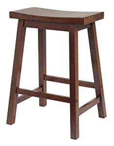 Winsome Saddle Seat 24-Inch Counter Stool, Walnut