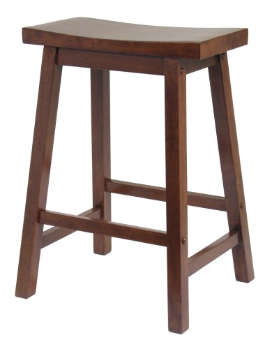 Winsome Wood Saddle Seat 24-Inch Counter Stool, Walnut