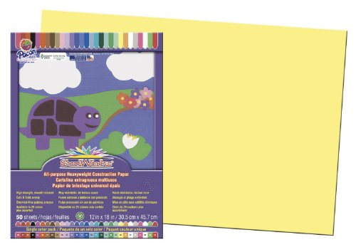 Pacon SunWorks Construction Paper, 12-Inches by 18-Inches, 50-Count, Yellow (8407)