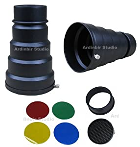 Ardinbir Studio Photo Metal Compact Snoot with Honeycomb Grid & 4 Colors Gel Set for Alien Bees, Balcar and White Lightning Strobe Monolight Lights.