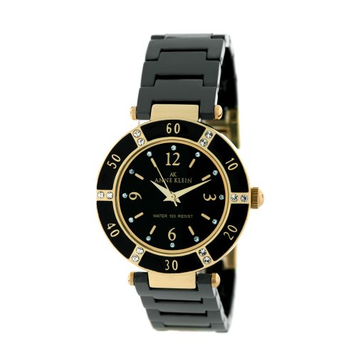 AK Anne Klein Women's 109416BKBK Swarovski Crystal Accented Gold-Tone Black Ceramic Watch