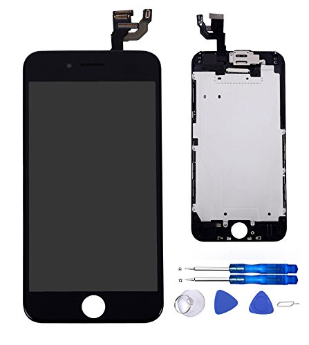 Glob-Tech iPhone 6 4.7 Inch Digitizer Full Assembly Replacement LCD Display Touch Screen with Small Components Facing Proximity Sensor + Ear Speaker + Front Camera + Repair Tools,iPhone 6 Black (Parts Iphone 6 compare prices)