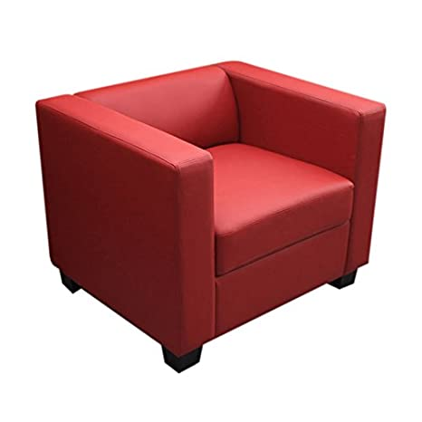 Fauteuil Club / Lounge Lille, 86x75x70cm, cuir reconstitué, rouge