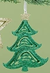 6&quot; Whimsical Green Glitter Swirled Christmas Tree Ornament