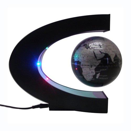 Funny C Shape Magnetic Levitation Floating Globe World Map Led Light front-224625