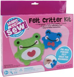 Colorbok Learn To Sew Felt Critters Kit, Frog, 2/Pkg