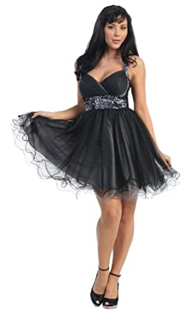 Short Cocktail Party Junior Prom Dress #657 (4, Black)