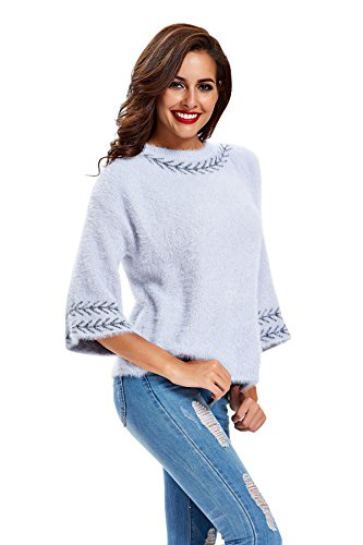 womens-wool-blend-cardigan-3-4-sleeves-knitwear-crewneck-sweater-blue-os