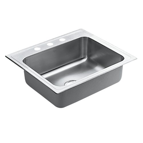 Moen 22224 Camelot 4 Hole Stainless Steel 20 Gauge Single Bowl Drop In Sink, Stainless
