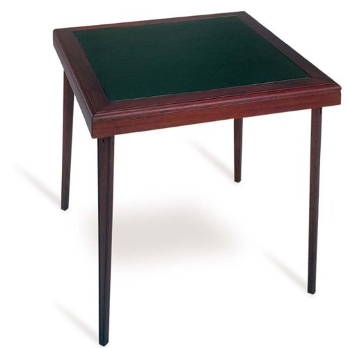 Cheap Square Wood Folding Table With Vinyl Inset In Black And Mahogany Ch