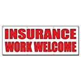 Insurance Work Welcome Auto Body Shop Car Banner Sign 12