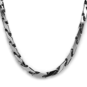 tungsten carbide necklace wheat chain link 24 quot lobster