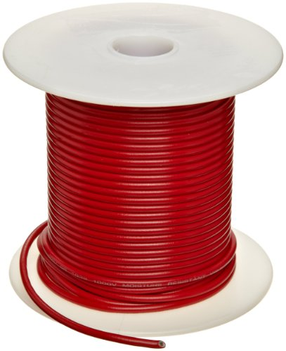 UL1015 Commercial Copper Wire, Bright, Red, 22 AWG, 0.0253