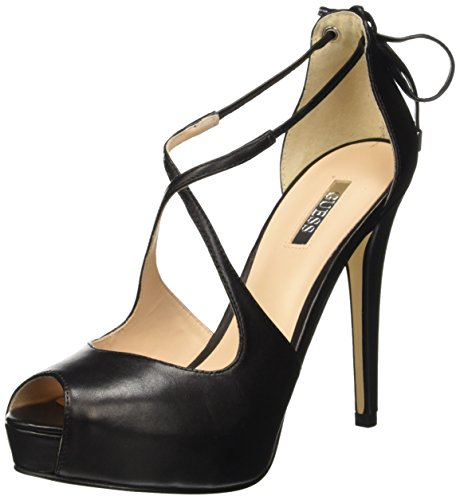 Guess Leather Open Toe Scarpe con tacco, Donna, Nero, 36