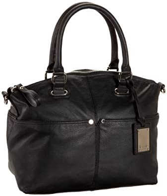 Tignanello Polished Pockets Convertible Satchel,Black,one size