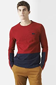 Long Sleeve Slubby Pique Color Block T-Shirt