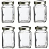Nakpunar 6 pcs, 3.75 oz Mini Square Glass Jars for Jam, Honey, Wedding Favors, Shower Favors, Baby Foods, DIY Magnetic Spice Jars