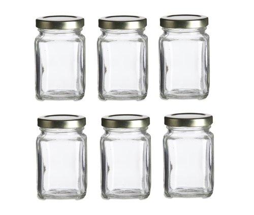 Nakpunar 6 pcs, 3.75 oz Mini Square Glass Jars for Jam, Honey, Wedding Favors, Shower Favors, Baby Foods, DIY Magnetic Spice Jars