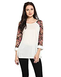 Solid Top With Printed Sleeves Large