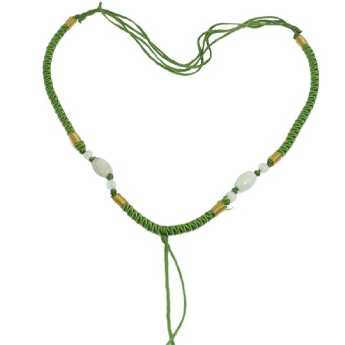 Rosallini 5 Pcs Green Nylon Braid No Pendant Necklace Beaded String Chain