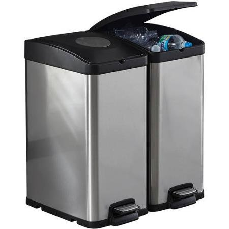 Better Homes and Gardens 30L Stainless Steel Rectangle Recycling Trash Can (Trash Can With Recycle Bin compare prices)