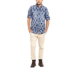 Copperstone Men's Casual Shirt (8903944564480_Blue_X-Large)