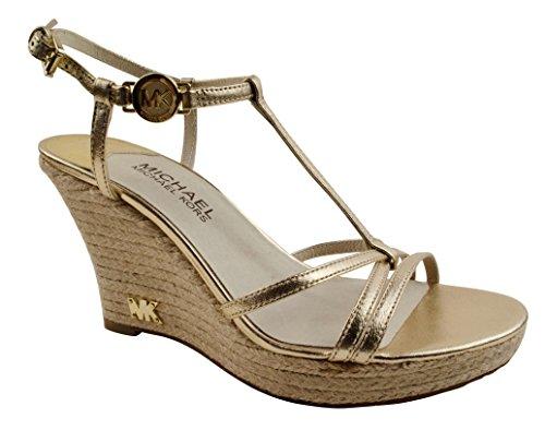 Michael Kors Kami Pale Gold T Strap Wedge Sandal Woman Shoe Size 11 M front-294941