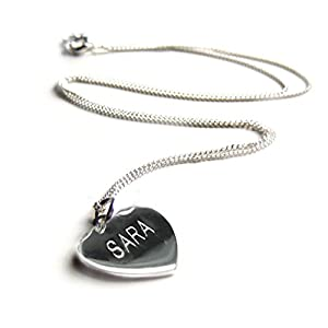 Heart Pendant NAME Engraved Necklace-16INCH-Sterling Silver-Gift-Girl