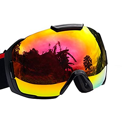 Premium OTG Ski Snowboard Goggles with REVO Lens Anti-Fog/Scratch for Men&Women, UV 400 Protection Helmet Glasses Compatible Wide Spherical Dual-PC Lens Adult Snow Goggle