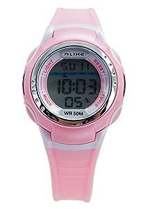 Aivtalk Child Girls Wristwatch 50M Waterproof Led Multifunctional Quartz Digital Alarm Sports Watch For Students - Pink