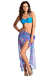PrettySecrets Women's Swimwear Sarongs (077239_Purple and Multi Print_Free Size)