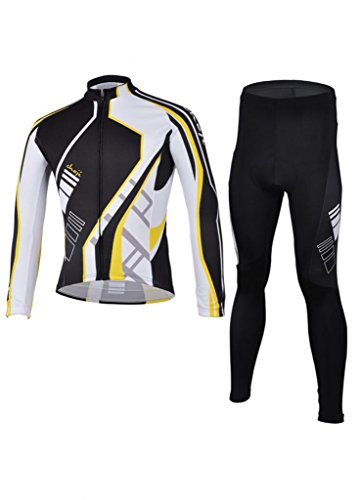 Ouo Men'S 100% Ployester Material Cycling Jersey Suit Fashion Long Sleeve Cycling Jersey Set