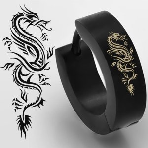 Single jewellery Sleuth Exclusive Design Surgical Steel Dragon Mens Huggie Hoop Hinge Earring