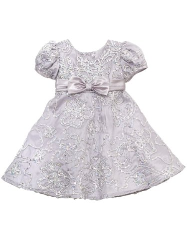 Rare Editions Baby Baby-girls Infant Soutach Dress, Silver, 18 Months