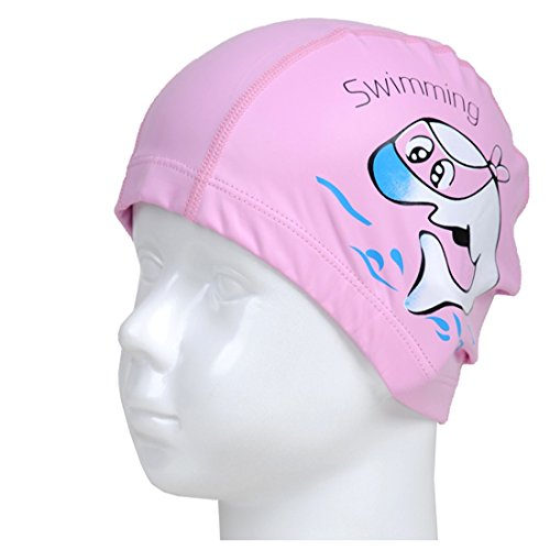 YouquTime Children's Waterproof Earmuffs Cap Cartoon Dolphin Swim Cap with Pu Coating Cartoon Pattern Swimming Cap Children Swimming Cap(pink)