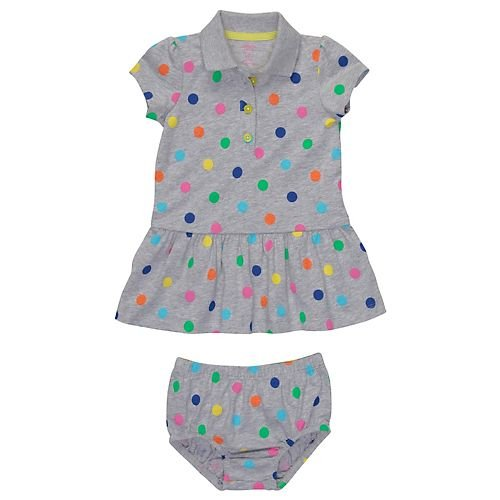 Carter's Polka Dots Dress & Matching Panty GRAY 18 Mo