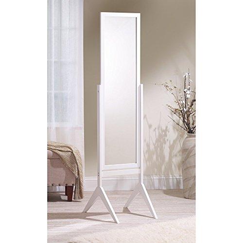 Mirrotek Adjustable Free Standing Tilt Full Length Body Floor Mirror, Cheval Style Tall Mirror, White