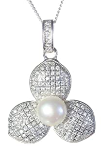 Beautiful 925 Sterling Silver Ladies Pendant + Chain with Cubic Zirconia/CZ, Pearl - 28mm*21mm, 5 Grams