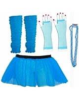 Four Peice Adult Womens 8-14 Neon Blue Turquoise Tutu Set Tutu Legwarmers Fishnet Gloves Beads 80s Fancy Dress Costume (RB Fashions Clothing)