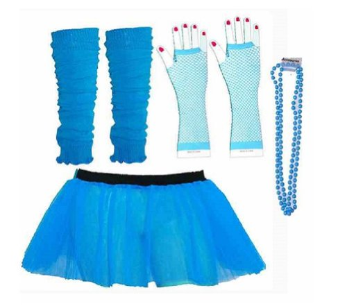 Four Peice Adult Womens 8-14 Neon Blue Turquoise Tutu Se