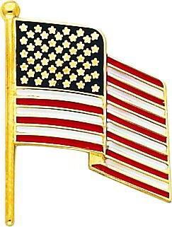 14K Gold Enameled American Flag Tie Tac