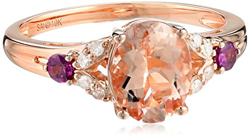 10k Pink Gold Morganite, Rhodolite and Diamond Ring, Size 7