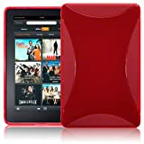 AMAZON KINDLE FIRE TPU GEL SKIN CASE - RED, WITH MICROFIBRE CLEANING CLOTH ~ Generic