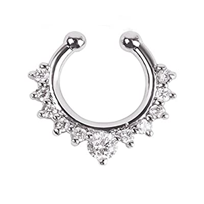 Oasis Plus Clear Crystal Clip On Septum Fake Nose Ring Hoop Non Piercing Hanger Rings Stud Body Jewelry