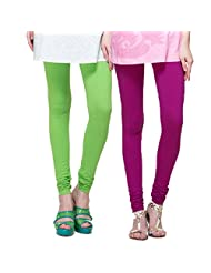 TSG Breeze Cotton Churidar Leggings- Pack Of 2- Bright Chartesus & Mouve Colour (Free Size)