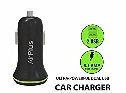 AirPlus Universal Car Charge 3.1A Dual Port For All Smart Phones and Tablets (Black)