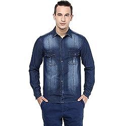 Atorse Mens Blue Denim Casual Faded Shirt