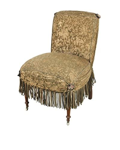 Early 1900's Boudoir Style Chair, Brown/Green/Gold