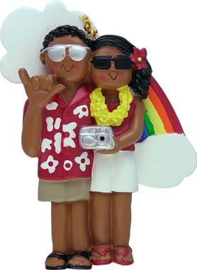 Africian American Vacation Couple Christmas Ornament